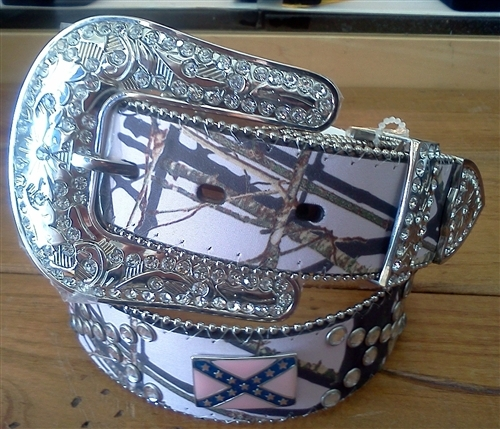Women's Nocona® Pink Mossy Oak Belt with Rebel Flag Conchos