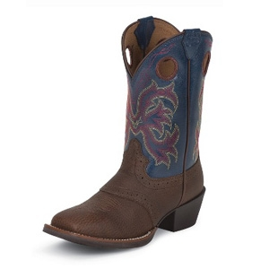 Justin Boots Kids Boots Dark Brown Rawhide w/ Perfed Saddle