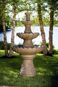 Four-Tier Cement Hummingbird Fountain