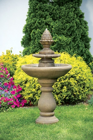 Two Tier Pinecone Cement Fountain