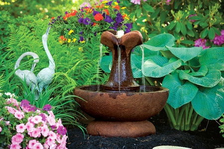 Small Clover Leaf Cement Fountain