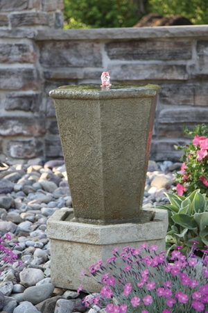 Tuscan Hex Urn Cement Fountainette