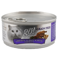 Petcurean Go! Natural Grain Free Cat Can Chikcken, Turkey and Duck, 24/5.5 Oz
