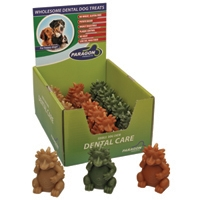 "Paragon Hedgehog Dental Dog Treat 3.7"" 18 count. Display Box"