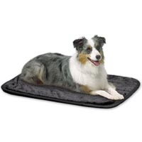 Midwest Quiet Time Deluxe Pet Mats - Black Synthetic Fur with Non-Skid Bottom 23 X 17
