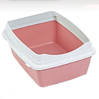 Petmate Rimmed Litter Pan with Microban large Lined/Bubblegum