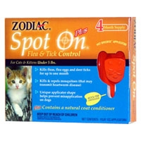 Zodiac Spot On Plus Flea & Tick Cat/Kitten 5 lb. & Under 4 Pack