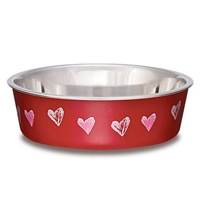 Loving Pets Bella Bowl Medium Hearts- Valentine Red
