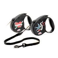 Flexi 6 Piece Medium 2-5 Rock Star Clip Strip Black Leash With 2 Designs