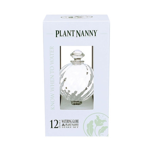 Plant Nanny 12 oz. Sprial Glass Watering Globe & Stake with Decorative Finial