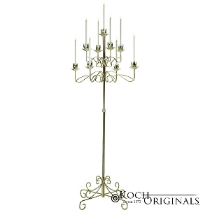 9-Light Tree Floor Candelabras - Brass