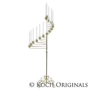 15-Light Spiral Candelabra - Brass