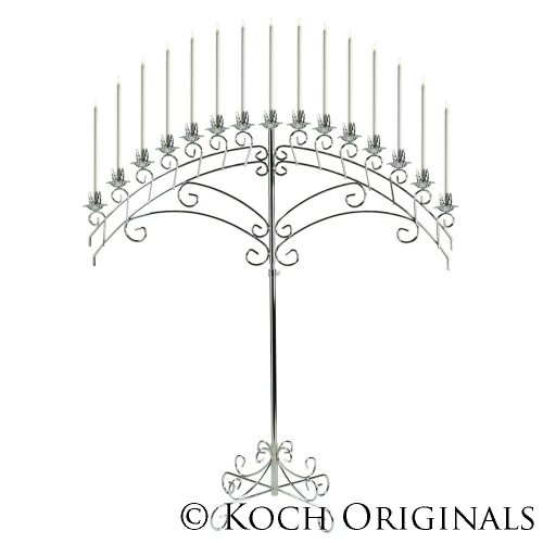 15-Light Fan Floor Candelabra - Nickel