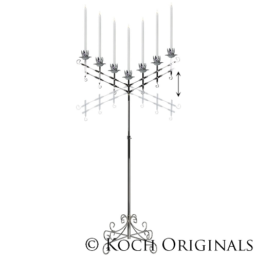 7-Light Adjustable Floor Candelabra - Nickel