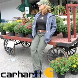 Jen modeling some Carhartt women's attire.