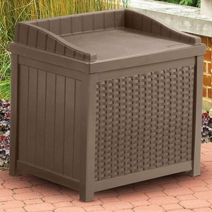 Suncast® Newport Collection 22 Gallon Resin Wicker Storage Seat