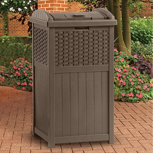 Suncast® Newport Collection 30 Gallon Resin Wicker Trash Hideaway