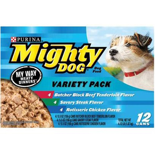 Mighty Dog My Way Meaty Dinners Variety Pack 2-12/5.5 oz. - 4 Each Chicken, Tenderloin, Steak