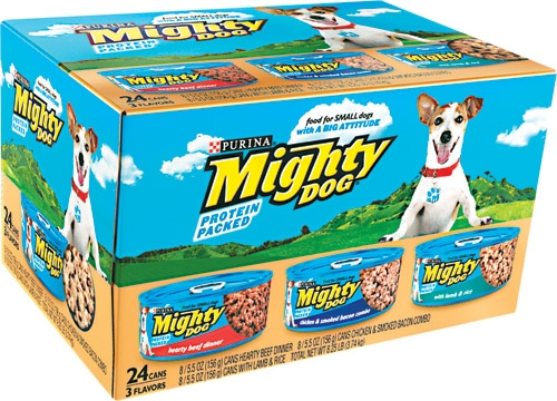Mighty Dog Boss Dog Dinners Variety Pk 24/5.5 oz. - 8 Each TS Chicken, Chicken/Bacon, Beef