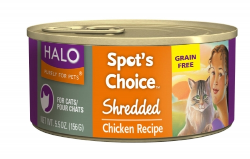 Halo Spot's Choice™ for Dogs,  Grain-Free Shredded  Chicken & Chickpeas  12/5.5 oz