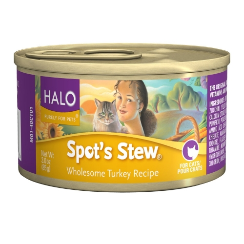 Halo Spot's Stew For Cats Wholesome Turkey 12/3 oz.