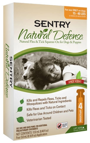 Sergeant's Sentry Natural Defense Flea & Tick Squeeze-on for Dogs/Puppies 15-40lbs