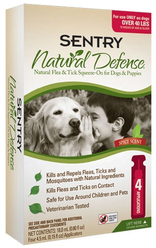 Sergeant's Sentry Natural Defense Flea & Tick Squeeze-on for Dogs/Puppies over 40lbs