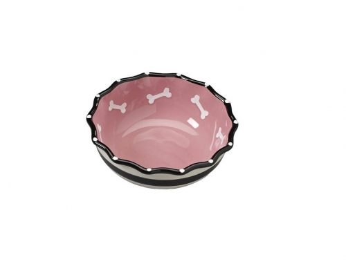 Contemporary Ruffle Dog Dish 7″ - Pink