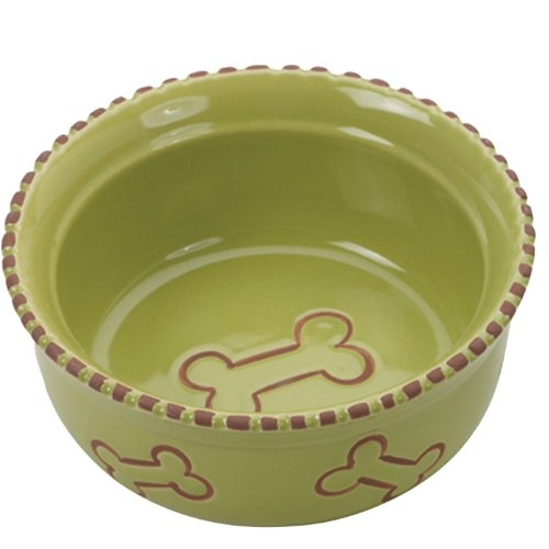"TERRA COTTA DISH 5"" DOG GREEN"