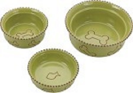 "TERRA COTTA DISH 7"" DOG GREEN"
