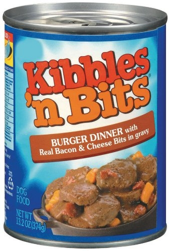 Delmonte Kibbles N Bits Burger Dinner w/ Bacon & Cheese in Gravy 24/13.2 oz. Cans