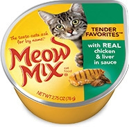 Delmonte Meow Mix Tender Favorites Real Chicken & Liver 24/2.75 oz. Cans
