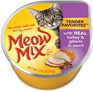 Delmonte Meow Mix Tender Favorites Real Turkey & Giblets 24/2.75 oz. Cans