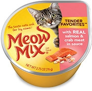Delmonte Meow Mix Tender Favorites Real Salmon & Crabmeat 24/2.75 oz. Cans
