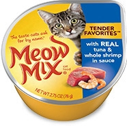 Delmonte Meow Mix Tender Favorites Tuna & Fish 24/2.75 oz. Cans