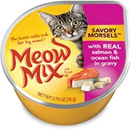 Delmonte Meow Mix Savory Morsels Real Salmon & Oceanfish 24/2.75 oz. Cans