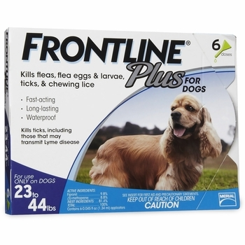 Frontline Plus Flea and Tick Treatment, Dog 23-44Lbs
