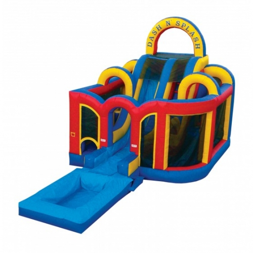 Inflatable Dash & Splash Obstacle Course with slide and pool