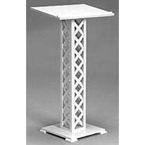 All Seasons Wicker White Lattice Registry Stand