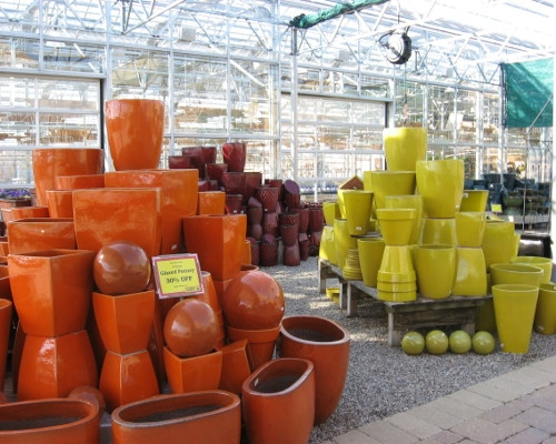 Vibrant Pottery in our Pottery Emporium