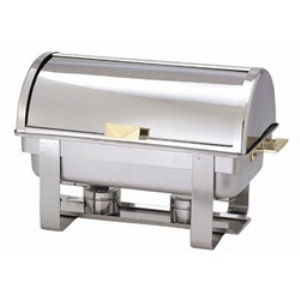 Chafer, 8-Quart Full Size Stainless Steel with Roll Top Lid & Gold Plated Accents