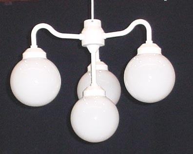 Lighting, 4 head White Poly Globes, Chandelier