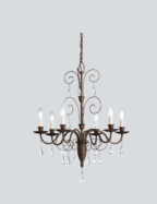 Chandelier, Antique Bronze with Crystals