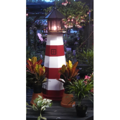 5' Painted Wood Lighthouse w/ Light