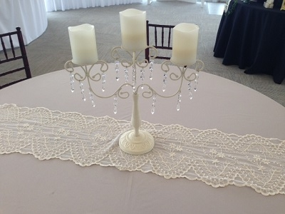 Candelabra, Ivory with Crystals