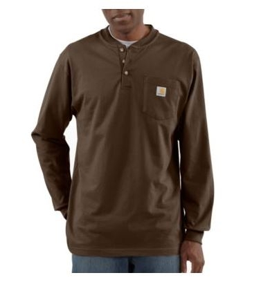 Carhartt K128 Men's Long Sleeve Workwear Henley