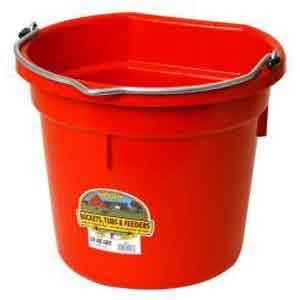 20 Quart Flat Back Plastic Bucket - Red