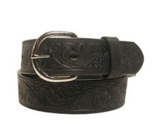 Western Scroll Tooled Belt