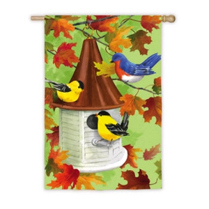 Fall Birdhouse Flag