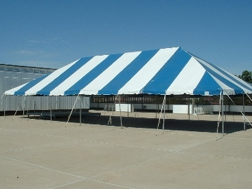 30' x 40' Pole Tent, white with blue stripes